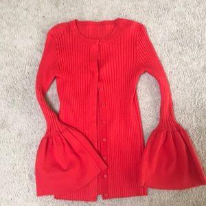 Ruffle sleeve CAbi sweater